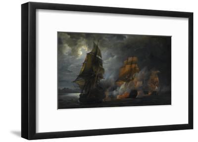 """Combat naval entre le vaisseau français """"le Triton"""" commandé par le comte de Ligondès et le"""