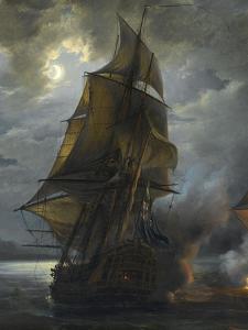 """Combat naval entre le vaisseau français """"le Triton"""" commandé par le comte de Ligondès et le by Pierre Julien Gilbert"""