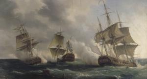 Combat naval entre les frégates françaises la Nymphe et l'Amphitrite commandées par le vicomte de by Pierre Julien Gilbert