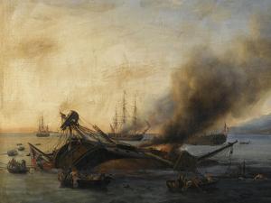 Combat naval entre une division française et anglaise en vue de l'île de la by Pierre Julien Gilbert