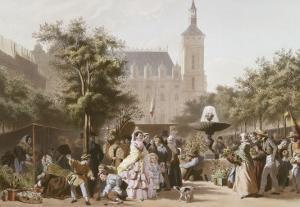 Le marché aux fleurs. by Pierre Julien Gilbert