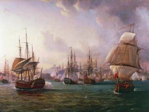 Naval Battle of Port Praya Between British and French Fleets Off Island of Santiago, Cape Verde by Pierre-Julien Gilbert
