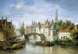 Barges on the Canal in Bruges by Pierre Justin Ouvrie