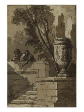 Vue d'un parc, escalier de pierre , vase