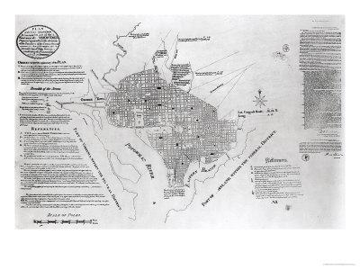 "Plan of Washington D.circa, Pub. in ""Gazette of the United States,"" Philadelphia, January 4th 1792"