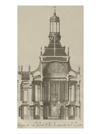 """Recueil des """"Plans, Profils et Elévations du Château de Versailles..."""" : planche 6 : coupe"""