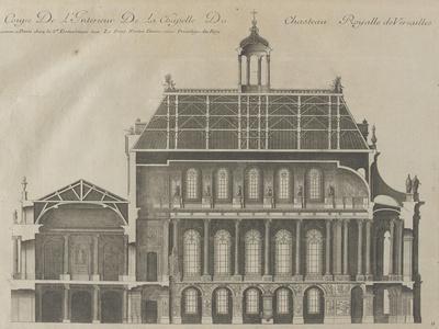 """Recueil des """"Plans, Profils et Elévations du Château de Versailles..."""" : planche 9 : coupe"""
