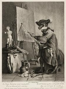 The Monkey Painter, 1743 by Pierre-Louis de Surugue