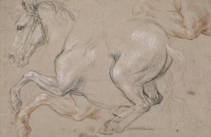 Etude d'un cheval galopant vers la gauche; étude pour le portrait du duc de Chartres by Pierre Mignard