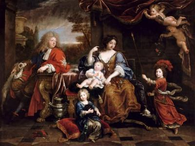 Louis of France, Grand Dauphin (1661-171), with His Family by Pierre Mignard