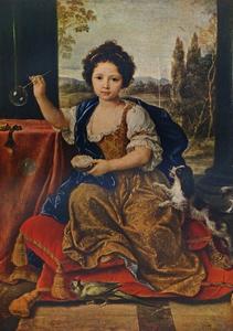 Louise Marie Anne de Bourbon, (1674-1681), illegitimate daughter of Louis XIV, c1680, (1911) by Pierre Mignard