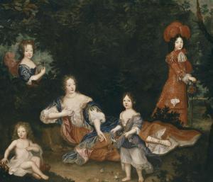 Madame de Montespan, le duc du Maine, le comte de Véxin, mademoiselle de Nantes et mademoiselle de by Pierre Mignard