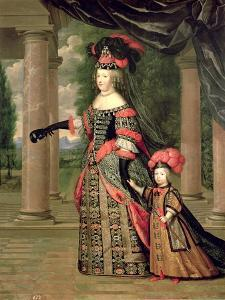 Maria Theresa Wife of Louis XIV, with Her Son the Dauphin Louis of France after 1661 by Pierre Mignard