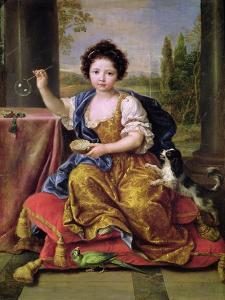 Marie-Anne De Bourbon (1666-1739) Mademoiselle De Blois, Blowing Soap Bubbles by Pierre Mignard