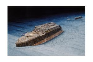 Painting of the Sunken Titanic with the Submersible Alvin at the Bow by Pierre Mion