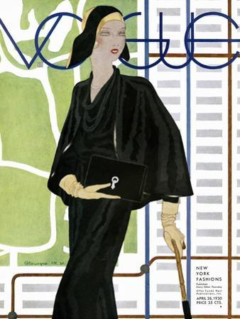 Vogue Cover - April 1930 by Pierre Mourgue
