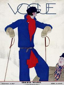 Vogue Cover - December 1927 by Pierre Mourgue