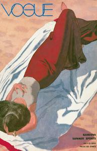 Vogue Cover - July 15, 1933 - Lady on Beach - Gardens, Summer Sports by Pierre Mourgue