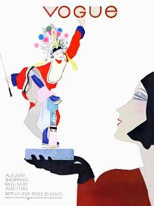 Vogue Cover - September 1929 by Pierre Mourgue