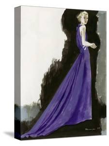 Vogue - March 1934 - Purple Gown by Pierre Mourgue