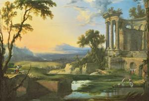Italian Landscape with Ruins by Pierre Patel