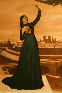 """"""" Echappe a la serre ennemie, le message attendu exalte le coeur de la fiere cite"""" (1871). by Pierre Puvis de Chavannes"""