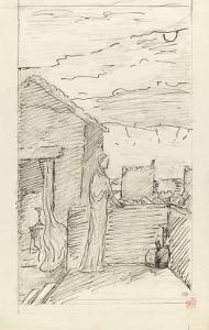 Femme sur une terrasse dominant une ville fortifiée by Pierre Puvis de Chavannes