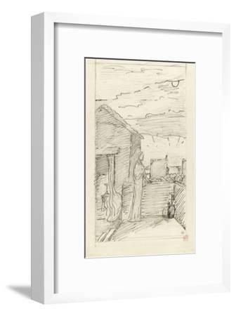 Femme sur une terrasse dominant une ville fortifiée