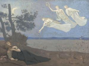 """Le rêve. """"Il voit dans son sommeil l'Amour, la Gloire et la Richesse lui apparaître"""" by Pierre Puvis de Chavannes"""