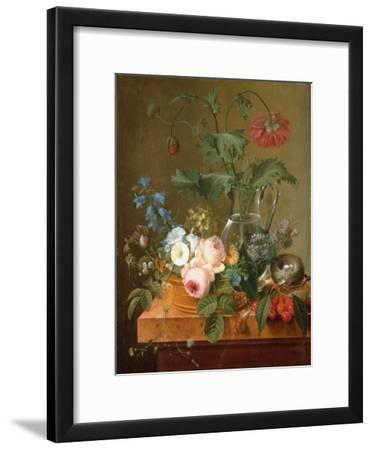 Roses, Anemones in a Glass Vase, Other Flowers, Cherries and a Birdnest