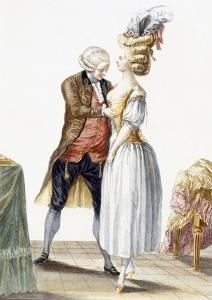 Elegant Lady at a Fitting with Her Tailor, Plate from 'Galerie Des Modes Et Costumes Francais' by Pierre Thomas Le Clerc