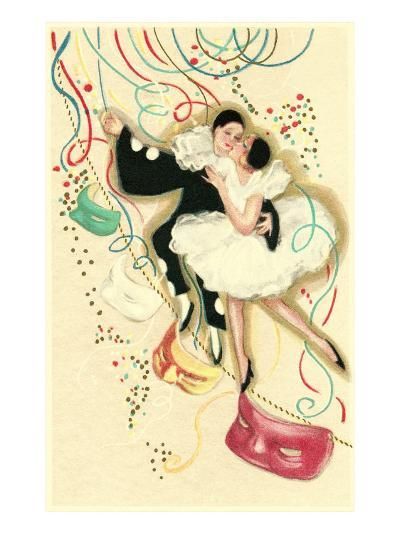Pierrot and Ballerina with Confetti--Art Print