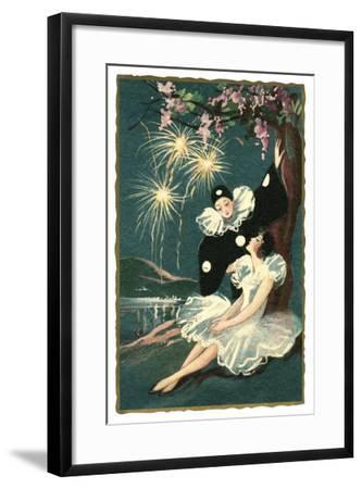 Pierrot and Ballerina with Fireworks--Framed Art Print