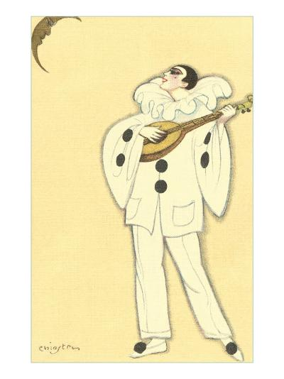 Pierrot Singing to Crescent Moon--Art Print