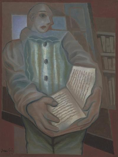 Pierrot with Book-Juan Gris-Giclee Print
