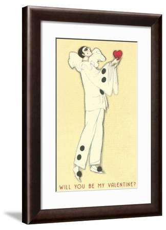 Pierrot with Heart--Framed Art Print