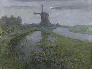 Mill Along the River Gein by Moonlight by Piet Mondriaan