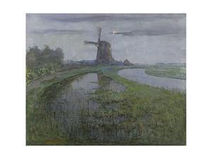 Oostzijdse Mill Along the River Gein by Moonlight, C. 1903 by Piet Mondriaan