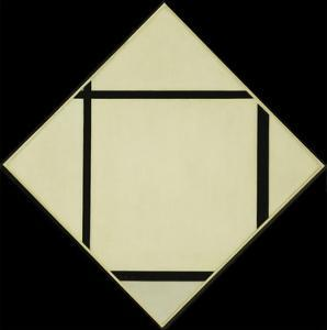 Tableau I - Lozenge with Four Lines and Gray, 1926 by Piet Mondrian