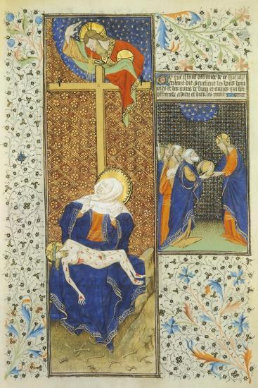 Pieta, Miniature from the Master of Hours by Rohan, France 15th Century--Giclee Print
