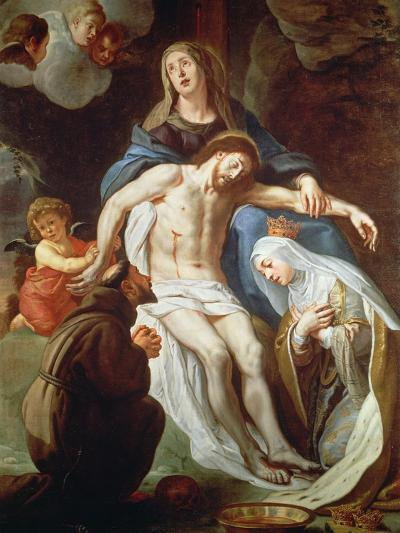 Pieta with St. Francis of Assisi (C.1181-1226) and St. Elizabeth of Hungary (1207-31)-Gaspar de Crayer-Giclee Print
