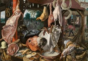 A Meat Stall with the Holy Family Giving Alms, 1551 by Pieter Aertsen