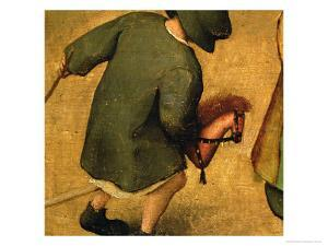 Children's Games, Detail of Bottom Section Showing a Child and a Hobby-Horse, 1560 by Pieter Bruegel the Elder