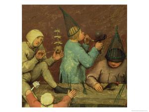 Children's Games (Kinderspiele): Detail of Left-Hand Section Showing Children Making Toys by Pieter Bruegel the Elder