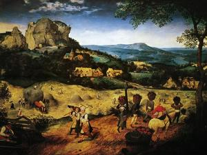 Hay Making, the Hay Harvest from the Series of Six Paintings The Seasons by Pieter Bruegel the Elder