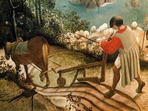 Landscape with the Fall of Icarus, Detail of a Man Ploughing, circa 1555 by Pieter Bruegel the Elder