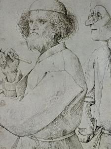 Painter and Patron (With Brueghel's Self-Portrait), Drawing by Pieter Bruegel the Elder