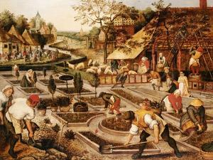 Spring: Gardeners, Sheep Shearers and Peasants Merrymaking by Pieter Bruegel the Elder