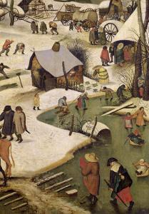 The Census at Bethlehem, Detail of Children Playing on the Frozen River by Pieter Bruegel the Elder