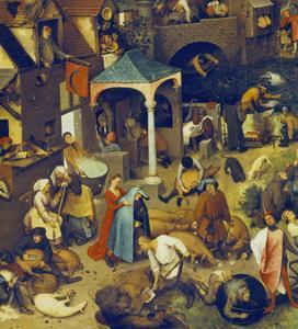 The Flemish Proverbs. (Detail of the Lower Centre) by Pieter Bruegel the Elder